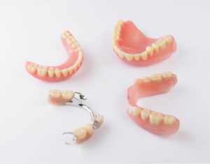 A variety of dentures on a white background